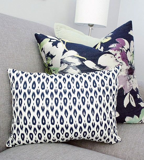 Pillow arranging ideas: A Solid, a Floral, and a Print