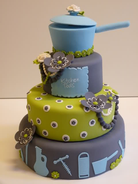 Kitchen Tools Cake. Artist Unknown. Looks like the perfect Groom's cake for a Chef!