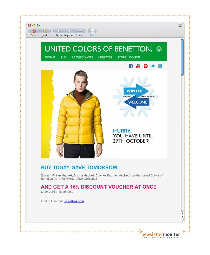 Brand: Benetton | Subject: Hurry! Last few days to get the 15% discount.