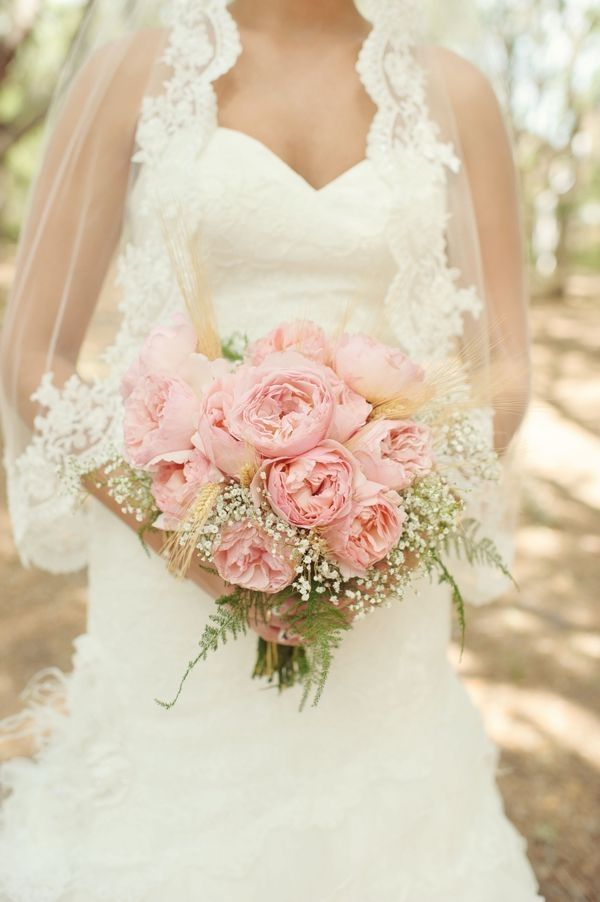 pink peony and baby's breath and wheat bouquet #wedding #flowers #pink by boogatoulis