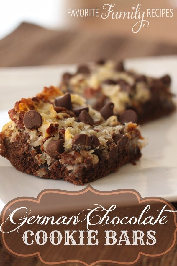 German Chocolate Cookie Bars. These were yummy. very easy to make and if you like the gooey coconut part of German Chocolate cake then you will like these!