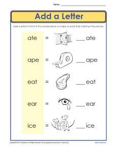Common core phonics worksheets for kindergarten