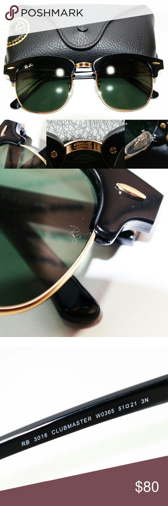 Ray Ban classic Clubmaster RB3016 51m G15 lens Brand new Ray Ban classic  black and gold Clubmaster RB3016 size 51m. It is the style with the black and gold frame with G15 lens.$80 price is firm. Not interested in trades at this time.  The sunglasses will be shipped out same day if the order is placed before 8pm (PST) and will be shipped out the following morning (if placed after that time). I ship out orders daily. Ray-Ban Accessories Sunglasses