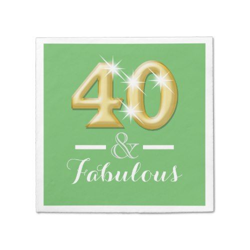 40th fortieth birthday green gold paper napkin