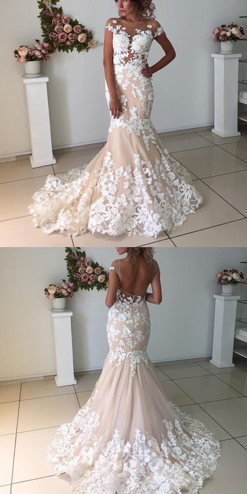 23fba32ae4 Elegant Champagne Mermaid Backless Wedding Dresses With Ivory Lace Appliques