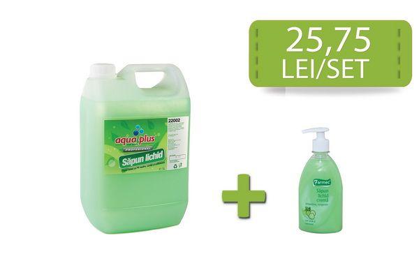 Vei simti un adevarat rasfat!  La orice bidon de sapun lichid Fresh Up cumparat, primesti un flacon de sapun lichid Farmec ceai verde la 500 ml cu 46% reducere! Adica la 4,30 lei/flacon!