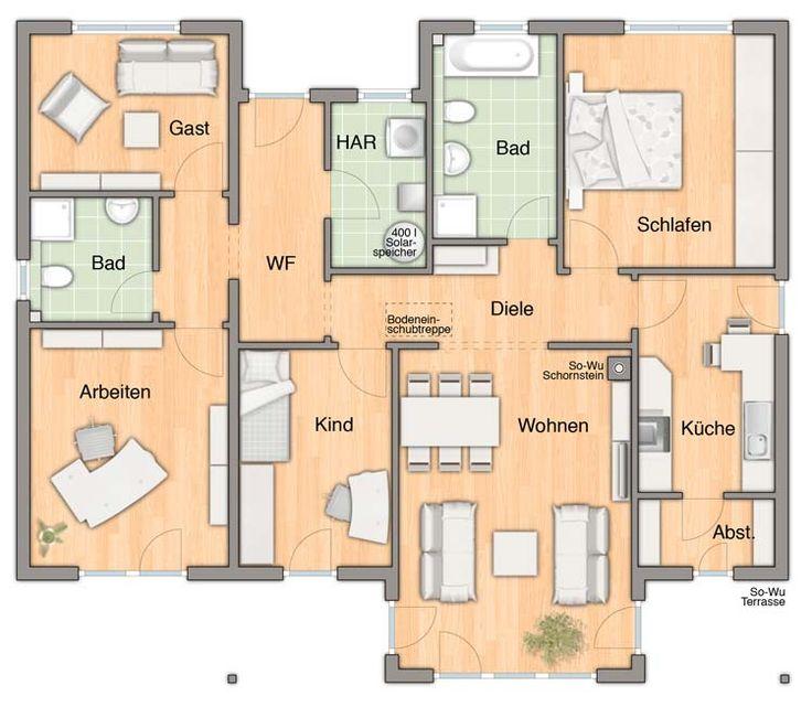 Musterhaus grundriss bungalow  206 besten Häuser....Grundriss.... Bilder auf Pinterest ...