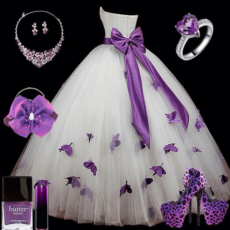 Beautiful white dress with purple butterfly's and necklace, ring, shoes, nail polish, and hair flower beautiful for a wedding or for a prom