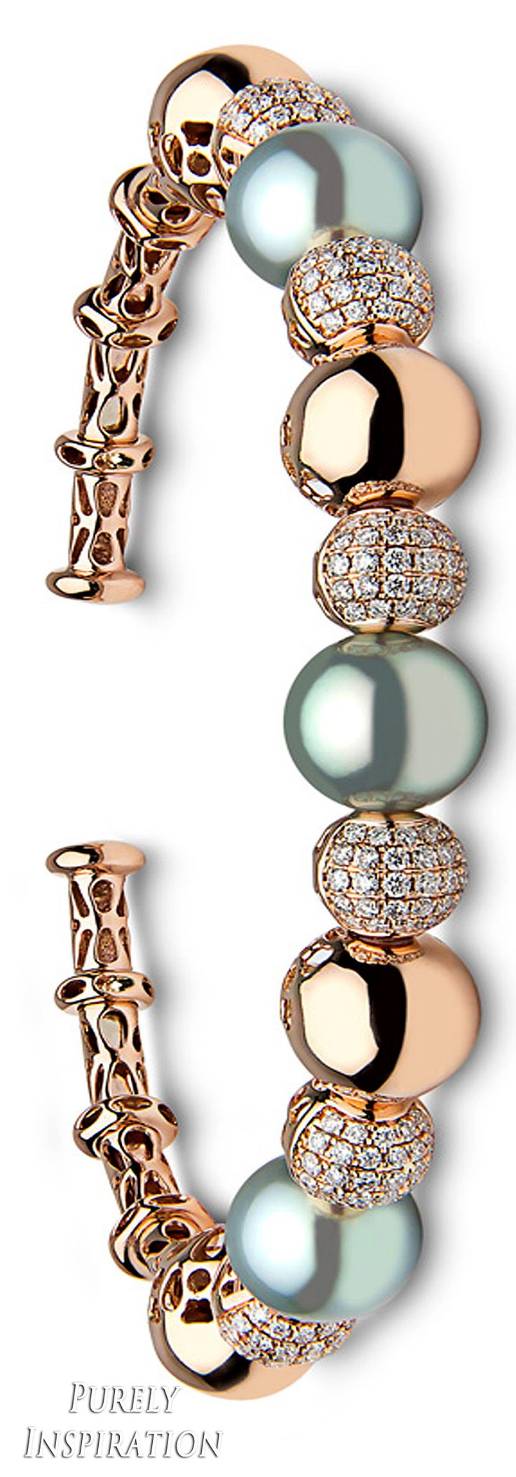 Yoko London Blue Rose Bracelet 18k rose gold, diamonds, golden Tahitian pearls | Purely Inspiratio