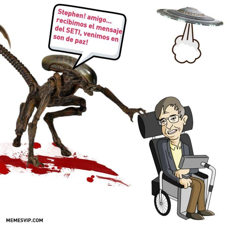 Meme Stephen Hawking mensajes espacio