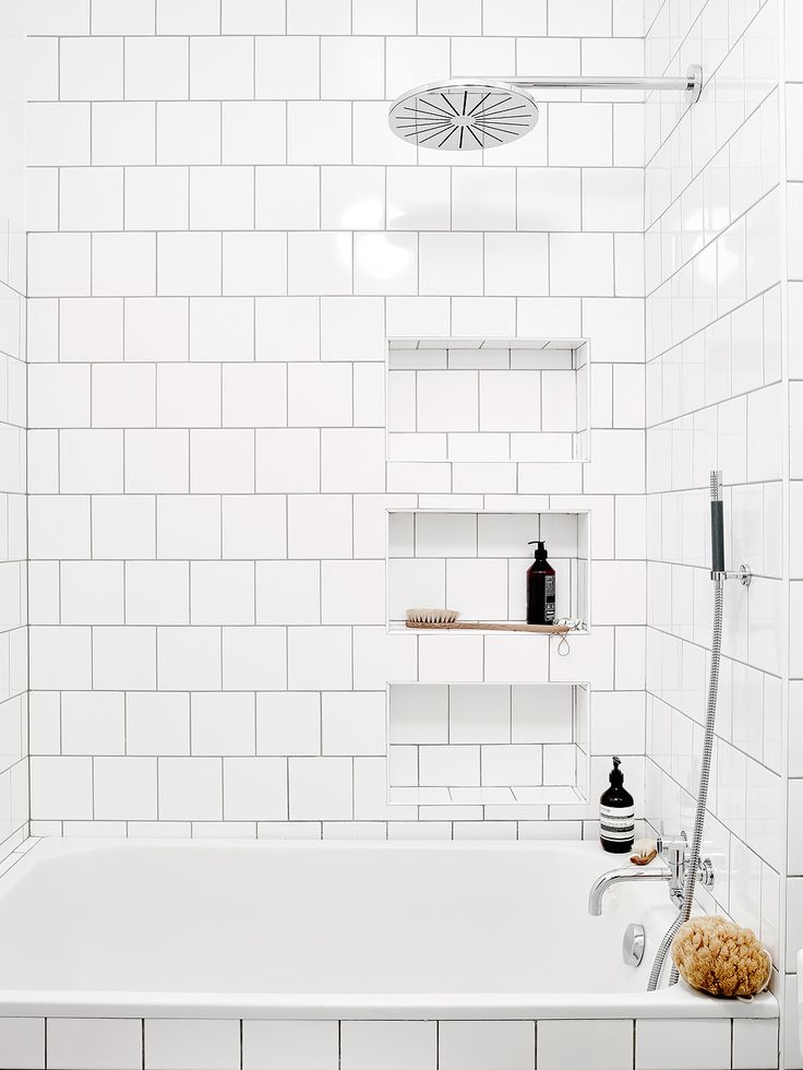 White Bathroom Tile. like the niche  but this is why you use a different tile inside 60 best Bengtsg rd images on Pinterest Bathroom Bathrooms and