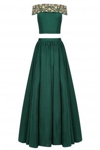 Bottle Green and Gold Floral Embroidered Crop Top and Skirt Set