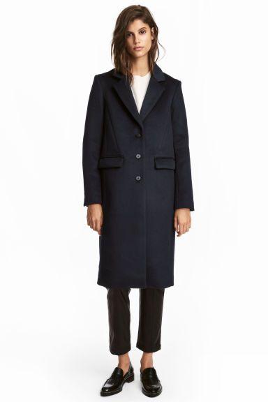 Casaco comprido com lã - Azul escuro - SENHORA | H&M PT