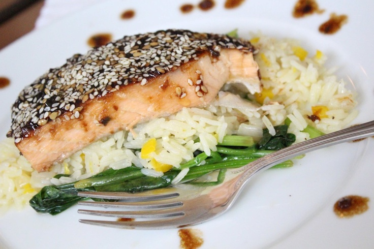 Maple Sesame Salmon with Mint Jasmine Rice and Citrus Wilted Spinach