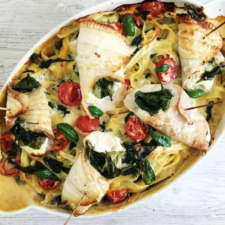 Fyldte rødspættefiletter med spinat og flødeost