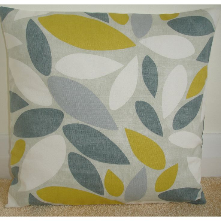 """20x20 Pillow Cover Saffron Yellow Grey Ivory and Gray 20"""" Cushion Slip Sham Case Pillowcase Geometric Contemporary Modern 50cm by pipdesigns on Etsy https://www.etsy.com/listing/477884345/20x20-pillow-cover-saffron-yellow-grey"""