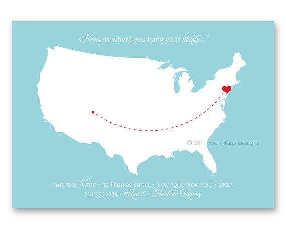 Moving Announcement, New Address, New Home, Just Moved, Printable Photo Card - Home is Where You Hang Your Heart