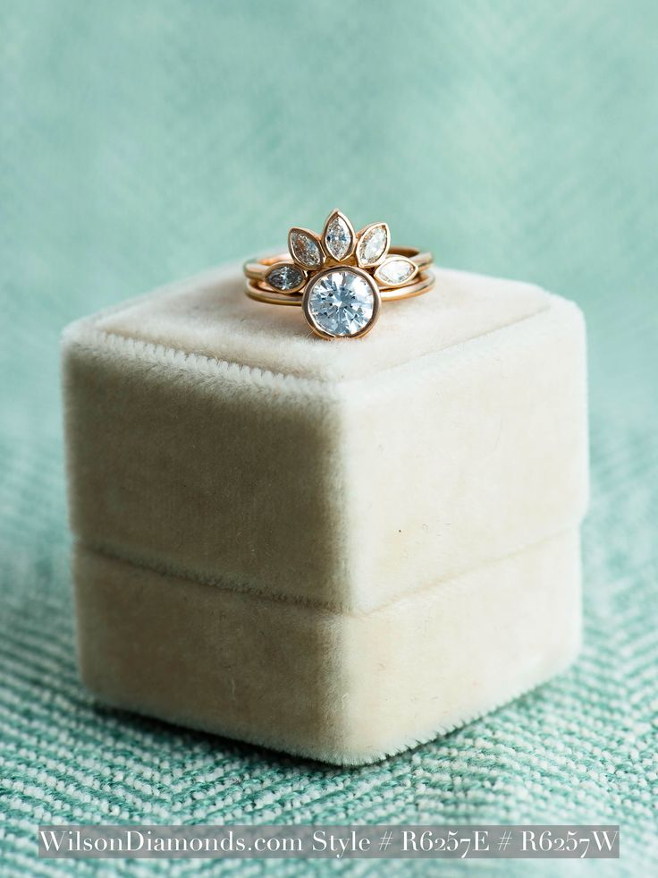 One of our newest rose gold rings and we LOVE it. The engagement ring is a round bezel solitaire with a marquise band on top. Style Numbers R6257E R6257W. #wilsondiamonds