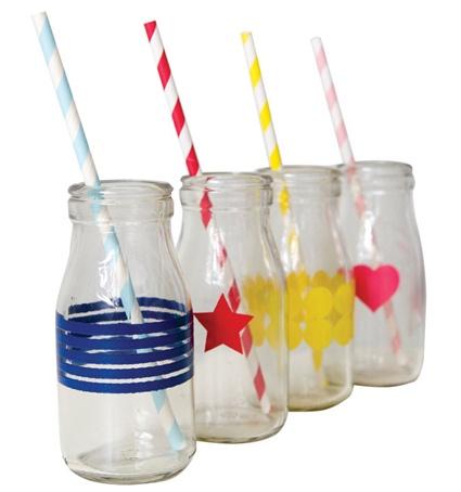 mini glass bottle - blue stripe - mini glass drinking bottle, glass drinking ... - Green with Envy