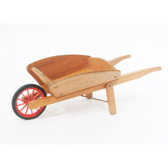 Vintage Childs Toy Wooden Wheelbarrow by BouDesign on Etsy