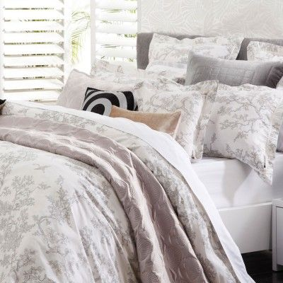 The Cranes Pearl Quilt Cover Set by Florence Broadhurst