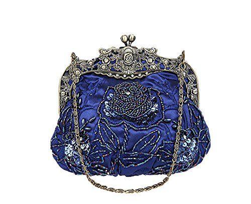niceeshop(TM) Frauen Retro Vorzügliche Rosen Muster Perlen Abend Party Abendtasche Handtasche, Dunkelblau