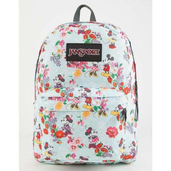 Jansport X Disney Blooming Minnie Superbreak Backpack ($44) ❤ liked on Polyvore featuring bags, backpacks, print backpacks, jansport rucksack, pattern bag, jansport daypack and jansport