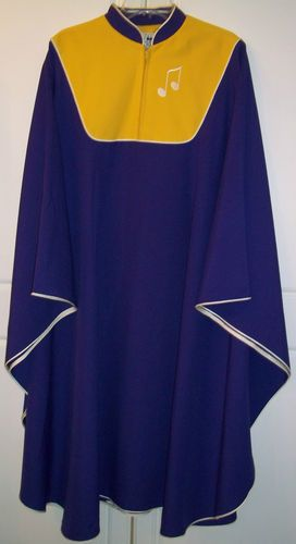 Murphy Robes Purple Yellow Gold Musical Notes Choir Chorus G 47 Adult Gown Robe | eBay