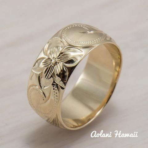14k Gold Traditional Hawaiian Hand Engraved Ring 8mm Width Barrel Aolani Hawaii 1