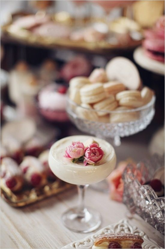 Dainty dessert cocktail. (Link to gorgeously glam wedding)