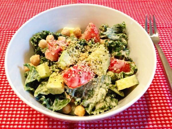Kale Salad with Creamy Lemon Tahini Dressing