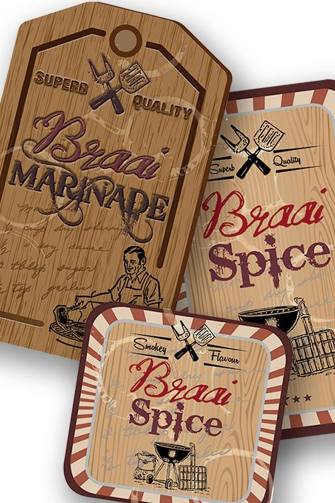 Braai spice labels, tags, stickers and sticky lables. Also Braai marinade, proudly SA.