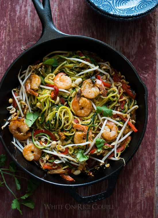 Healthy Zucchini Noodle Pad Thai Recipe with Shrimp on @WhiteOnRice