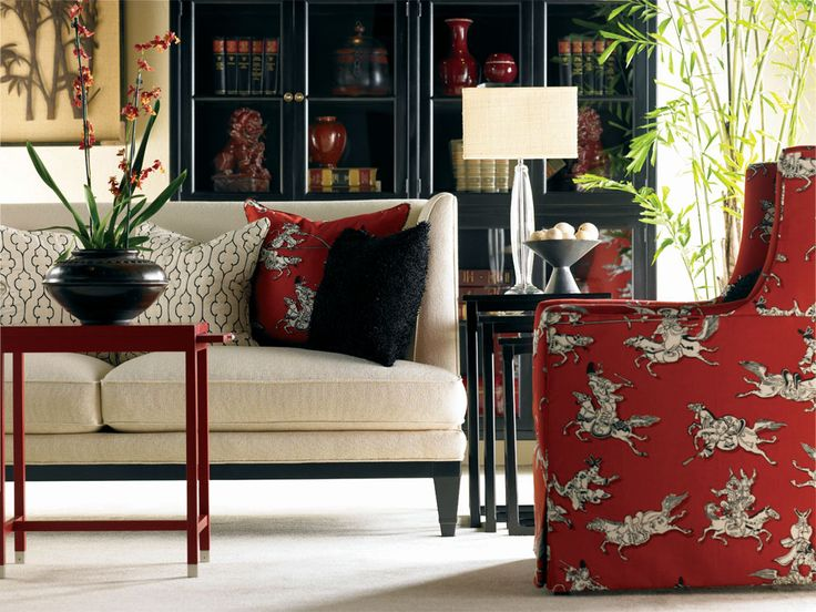 Black, Cream, Pops of Red - Not necessarily this fabric, but for inspiration...