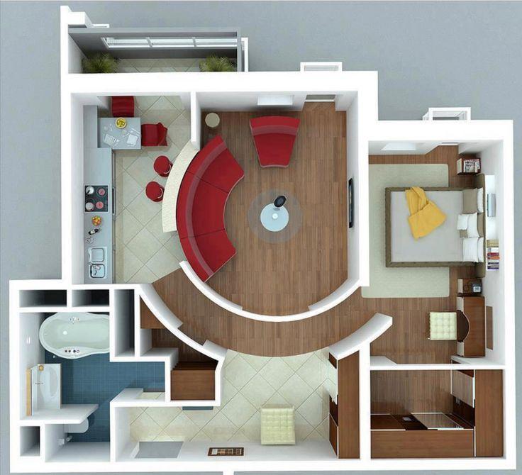 Vamos a revisar los planos de modernos apartamentos de un dormitorio, diferentes modelos de distribuciones de ambientes que te permitirán generar ideas de diseño, veamos: Diseño de planos de aparta…