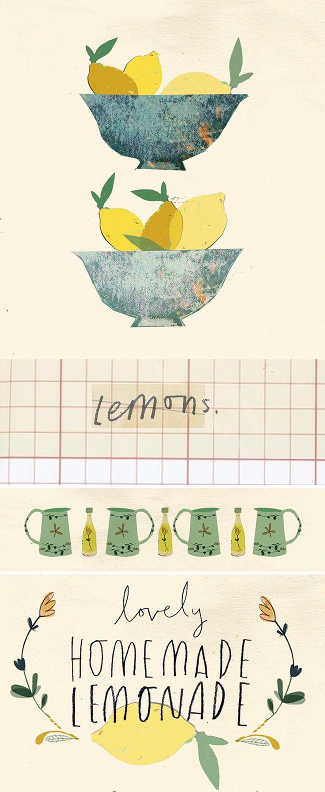 Clair Rossiter, lemonade, type, lemons, jug, illustration, print, drawing, wreath, sketch, pattern, colour