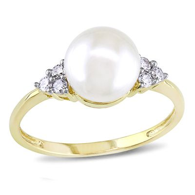 7.5 - 8.0mm Cultured Freshwater Pearl and 1/8 CT. T.W. Diamond Tri-Sides Ring in 10K Gold - View All Rings - Zales