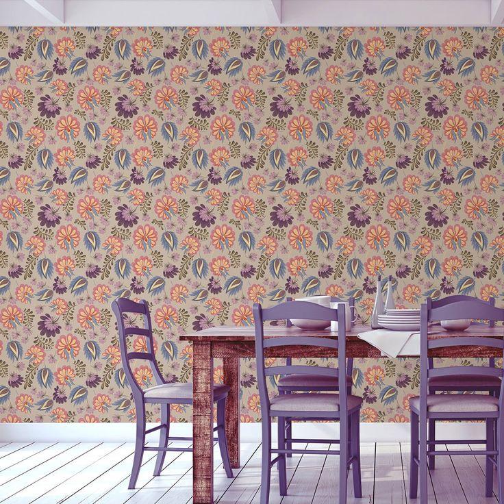 #Florale Tapete Mit Großen Blüten Auf Beige Angepasst An Schöner Wohnen  Wandfarbe Melone   Vliestapete