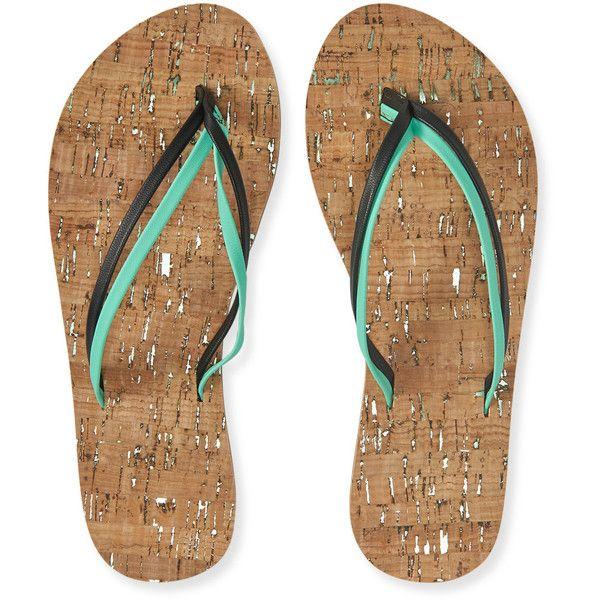 Aeropostale Neon Faux Cork Flip-Flop (13 CAD) ❤ liked on Polyvore featuring shoes, sandals, flip flops, seawave, neon flip flops, faux shoes, beach footwear, neon sandals and aeropostale shoes