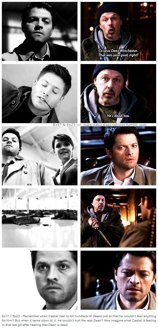 Back inseason 8, even after killing hundreds of Deans, Cas still couldn't kill the real Dean....imagine how he felt after Metatron told him Dean was dead