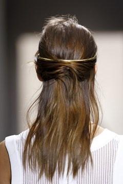 Balenciaga gold hair band for PFW