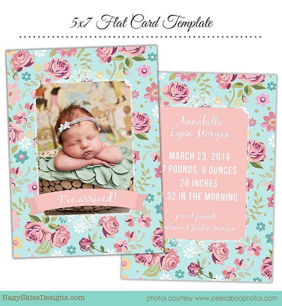 INSTANT DOWNLOAD Birth Announcement Template von hazyskiesdesigns, $7.50