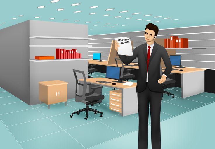 Customized office scene for eLearning with Adobe Captivate, Techsmith Camtasia, and Articulate Storyline.