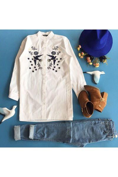 kuş pullu nakışlı gömlek ile ilgili görsel sonucu