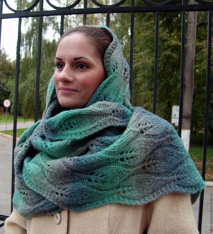 """Купить Шарф вязаный большой """"Листья на ветру"""" шерстяной зеленый - зеленый, серый, шарф вязаный женский"""