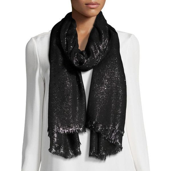 Loro Piana Duo Crystal Metallic Stole ($1,000) ❤ liked on Polyvore featuring accessories, scarves, accessories wraps & stoles, pink, metallic scarves, loro piana, metallic shawl and loro piana scarves