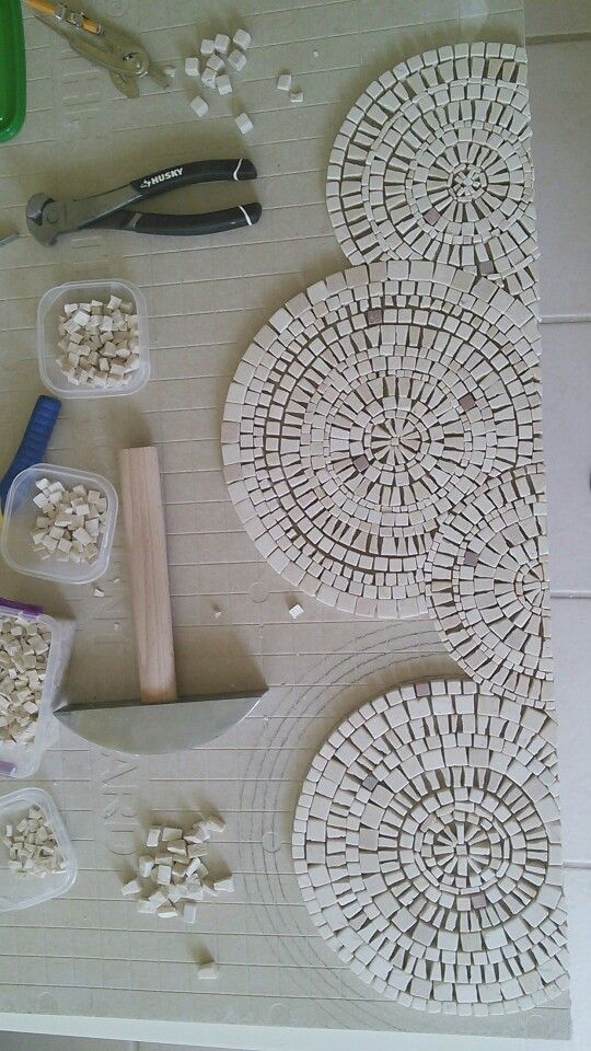 """Detail, Inspiration by circles and slate river. Mosaic art by Ursula Huber, Marble mosaic combined with natural slate. Love the contrast it's very heavy 24"""" x 63"""""""
