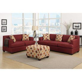 Poundex 2-Piece Bobkona Baldwin Dark Red Living Room Set