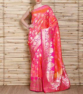 Pink Handloom Katan Silk Banarasi Saree