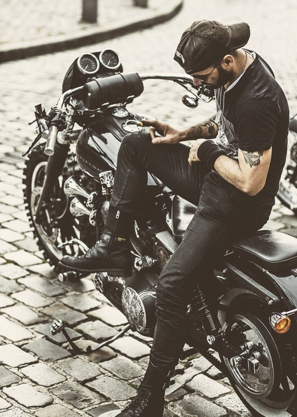 Biker, bike, motorcycle, MC, curves, hot, 2 wheels, transportation, brick road, photograph, photo